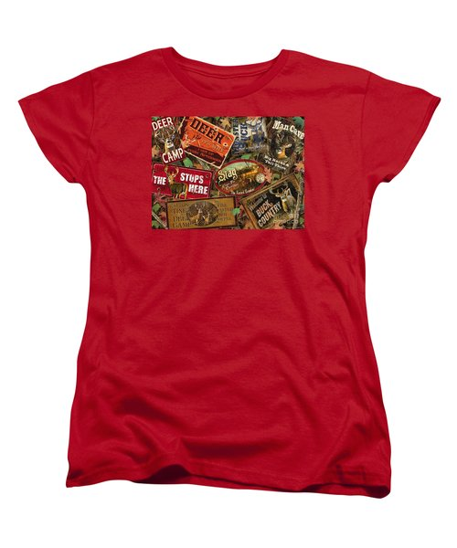 Women's T-Shirt (Standard Cut) featuring the painting Deer Sign Collage by Bruce Miller JQ Licensing