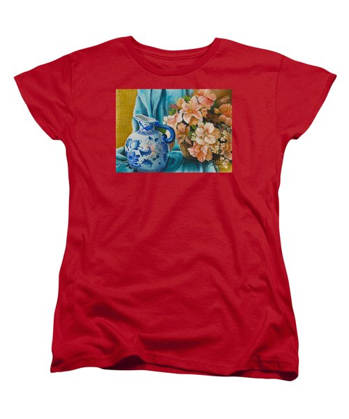 Women's T-Shirt (Standard Cut) featuring the painting Delft Pitcher With Flowers by Marlene Book