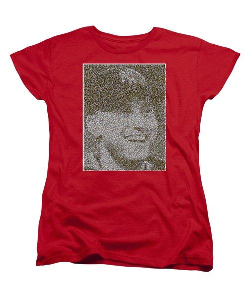 Women's T-Shirt (Standard Cut) featuring the mixed media Derek Jeter Baseballs Mosaic by Paul Van Scott
