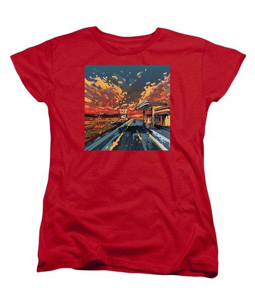Desert Road Landscape 2 Women's T-Shirt (Standard Cut) by Bekim Art