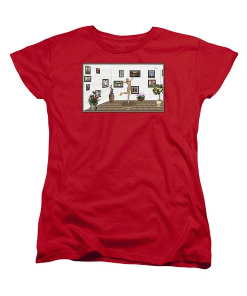 Women's T-Shirt (Standard Cut) featuring the mixed media digital exhibition _ A sculpture of a dancing girl 11 by Pemaro