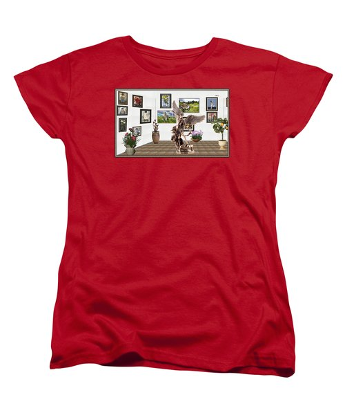 Women's T-Shirt (Standard Cut) featuring the mixed media digital exhibition _  sculpture of a Angels and Demons  by Pemaro