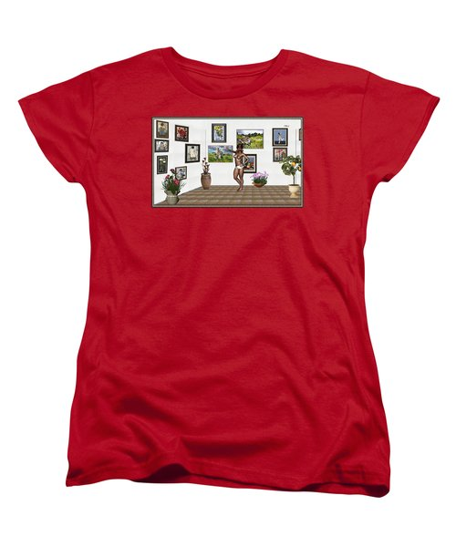 Women's T-Shirt (Standard Cut) featuring the mixed media digital exhibition 32 _ posing  Girl 32  by Pemaro