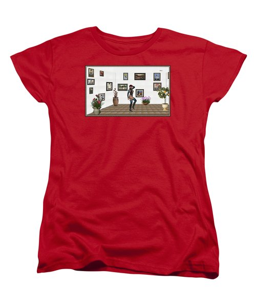 Women's T-Shirt (Standard Cut) featuring the mixed media digital exhibition 32  posing  Girl  by Pemaro