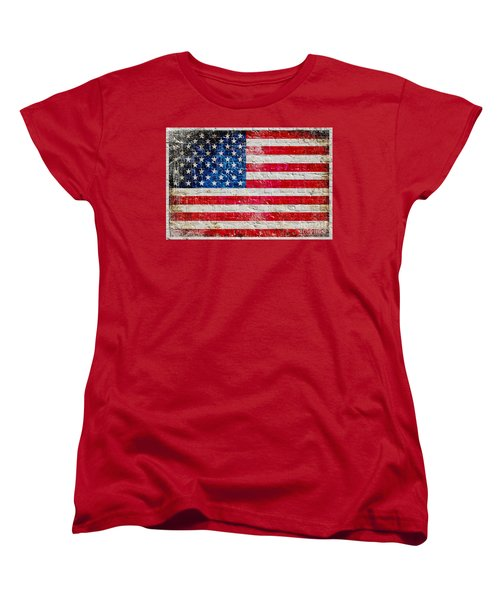 Distressed American Flag On Old Brick Wall - Horizontal Women's T-Shirt (Standard Cut) by M L C
