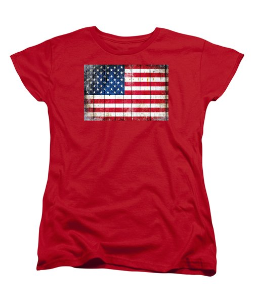 Distressed American Flag On Wood Planks - Horizontal Women's T-Shirt (Standard Cut) by M L C