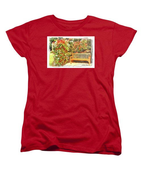 Women's T-Shirt (Standard Cut) featuring the photograph Do-00122 Inviting Bench by Digital Oil