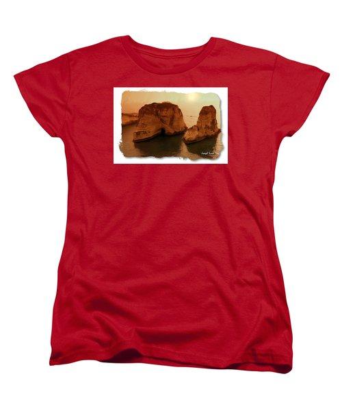Women's T-Shirt (Standard Cut) featuring the photograph Do-00405 Raouche Sunset Beirut  by Digital Oil