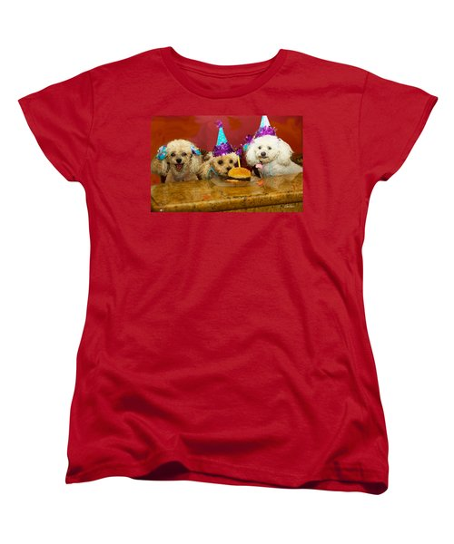 Dog Party Women's T-Shirt (Standard Cut) by Diana Haronis