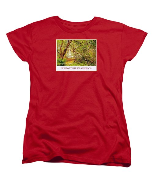 Women's T-Shirt (Standard Cut) featuring the photograph Dogwood Tree In The Forest Spring by A Gurmankin