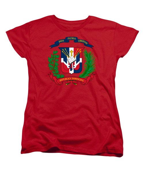 Women's T-Shirt (Standard Cut) featuring the drawing Dominican Republic Coat Of Arms by Movie Poster Prints