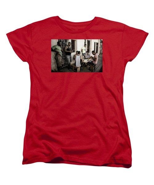 Women's T-Shirt (Standard Cut) featuring the photograph Dominoes by Joan Carroll