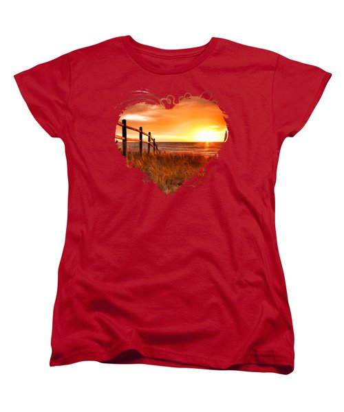 Door County Europe Bay Fence Sunrise Women's T-Shirt (Standard Cut) by Christopher Arndt