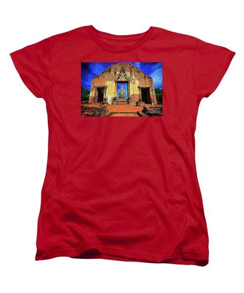 Doorway To Wat Ratburana In Ayutthaya, Thailand Women's T-Shirt (Standard Cut) by Sam Antonio Photography
