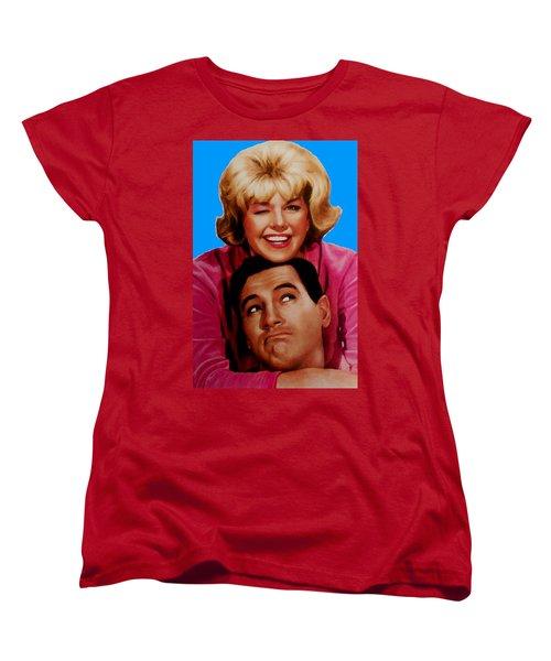 Women's T-Shirt (Standard Cut) featuring the mixed media Doris Day Rock Hudson  by Paul Van Scott