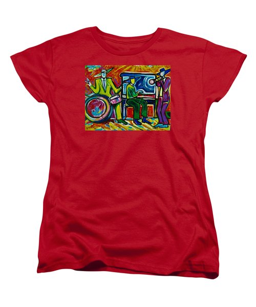 Women's T-Shirt (Standard Cut) featuring the painting Downtown by Emery Franklin