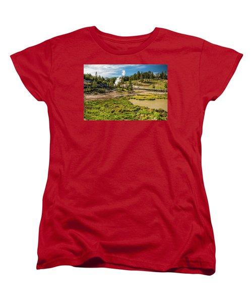 Dragon Geyser At Yellowstone Women's T-Shirt (Standard Cut) by Hyuntae Kim