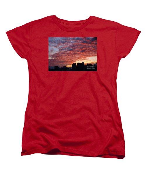 Women's T-Shirt (Standard Cut) featuring the photograph Dramatic City Sunrise by Yali Shi