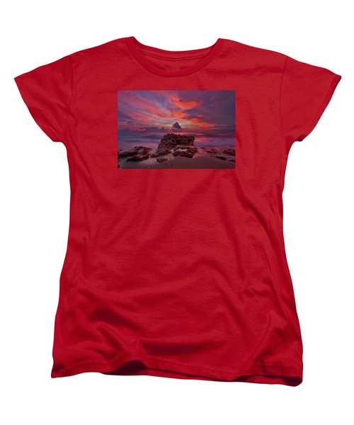 Dramatic Sunrise Over Coral Cove Beach In Jupiter Florida Women's T-Shirt (Standard Cut) by Justin Kelefas