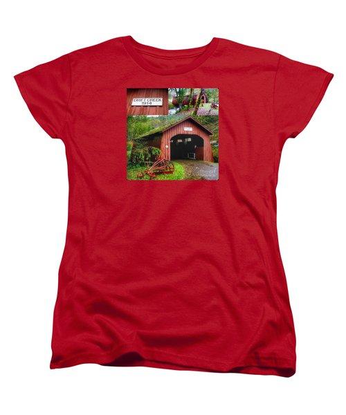 Drift Creek Covered Bridge Women's T-Shirt (Standard Cut) by Susan Garren