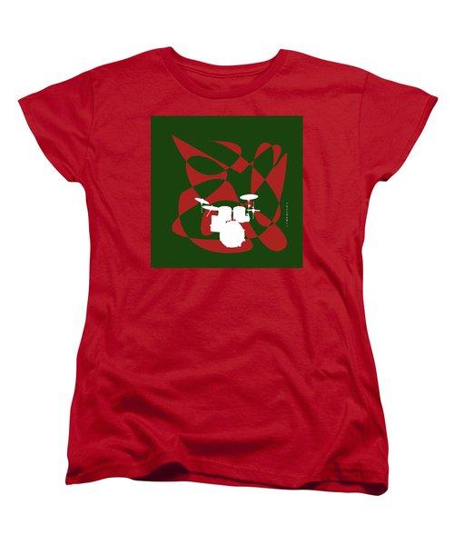 Drums In Green Strife Women's T-Shirt (Standard Cut) by David Bridburg