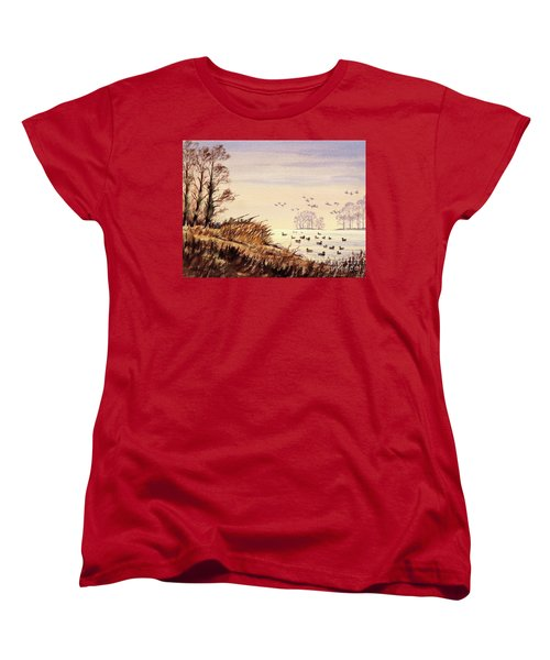 Women's T-Shirt (Standard Cut) featuring the painting Duck Hunting Times by Bill Holkham