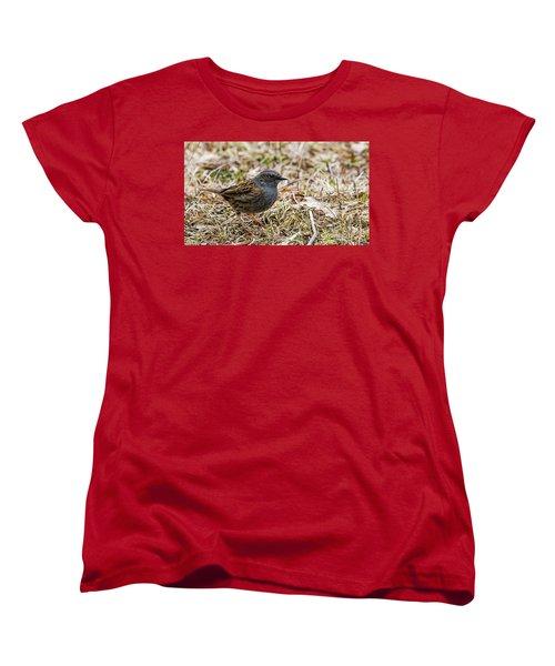 Women's T-Shirt (Standard Cut) featuring the photograph Dunnock by Torbjorn Swenelius