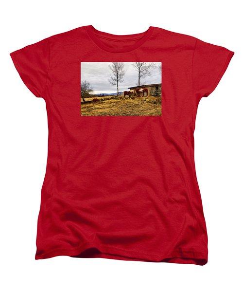 Dusk Feeding On The Farm Women's T-Shirt (Standard Cut) by Betty Pauwels