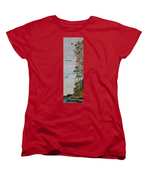 Women's T-Shirt (Standard Cut) featuring the painting Eagles Point by Marilyn  McNish