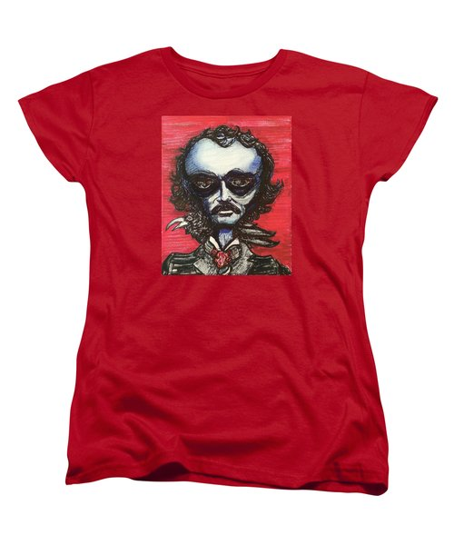 Women's T-Shirt (Standard Cut) featuring the painting Edgar Alien Poe by Similar Alien