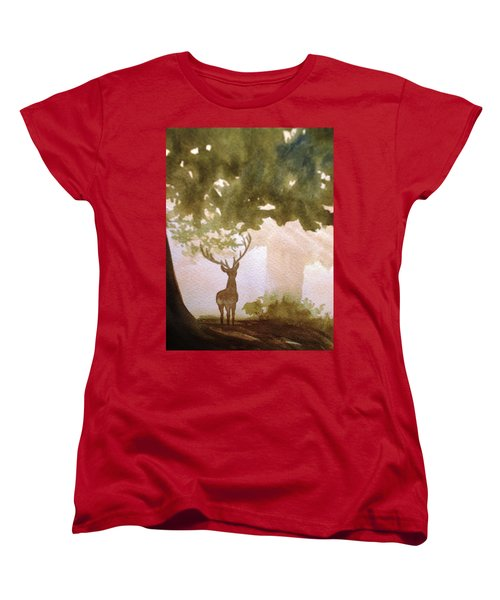 Women's T-Shirt (Standard Cut) featuring the painting Edge Of The Forrest by Marilyn Jacobson