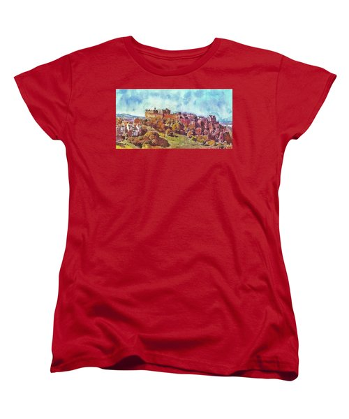 Edinburgh Skyline No 1 Women's T-Shirt (Standard Cut) by Richard James Digance