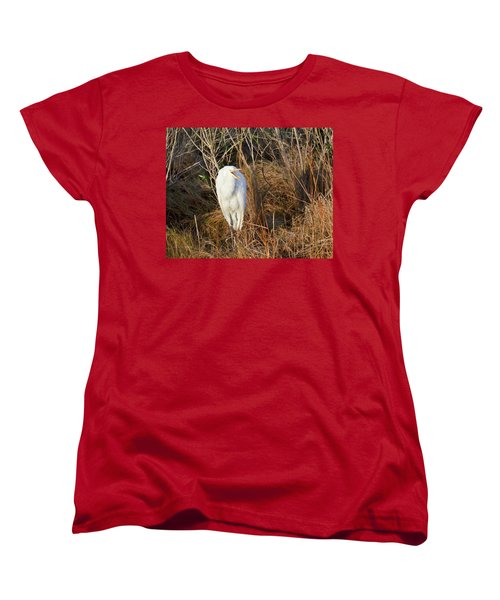 Women's T-Shirt (Standard Cut) featuring the photograph Egret With Something To Say by George Randy Bass