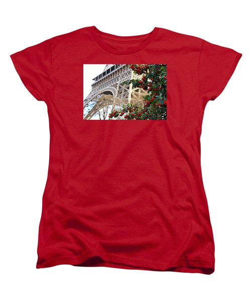Eiffel Tower In Winter Women's T-Shirt (Standard Cut) by Katie Wing Vigil