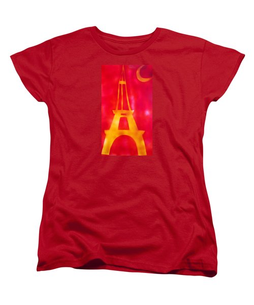 Women's T-Shirt (Standard Cut) featuring the painting Eiffel Tower Yellow Glowing by Don Koester
