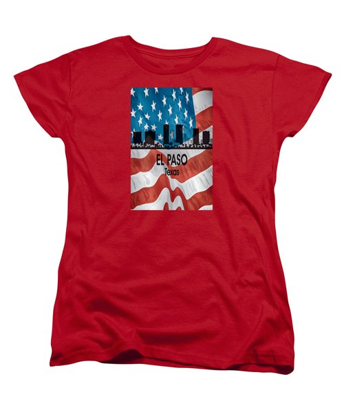 El Paso Tx American Flag Vertical Women's T-Shirt (Standard Cut)