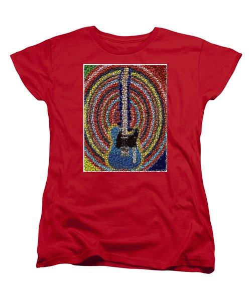 Women's T-Shirt (Standard Cut) featuring the mixed media Electric Guitar Bottle Cap Mosaic by Paul Van Scott