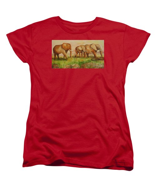 Women's T-Shirt (Standard Cut) featuring the painting Elephant Parade by Vicki  Housel