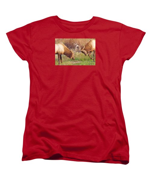 Women's T-Shirt (Standard Cut) featuring the photograph Elk Tussle Too by Todd Kreuter