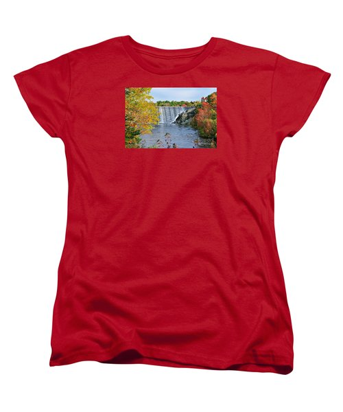 Women's T-Shirt (Standard Cut) featuring the photograph Ellsworth, Maine Dam by Debbie Stahre