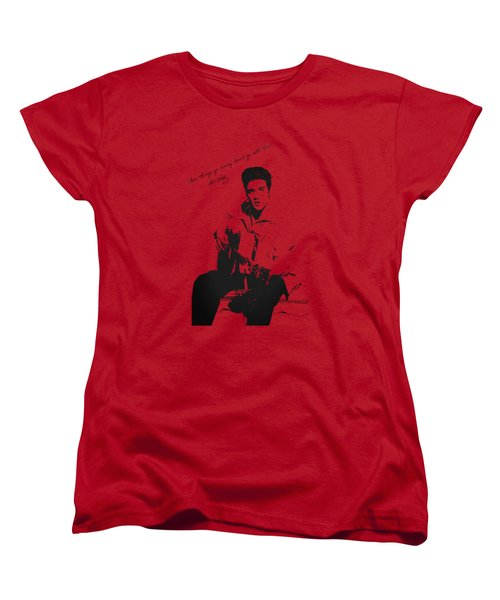 Elvis Presley - When Things Go Wrong Women's T-Shirt (Standard Cut) by Serge Averbukh