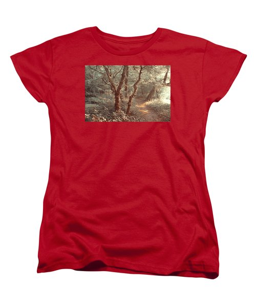 Women's T-Shirt (Standard Cut) featuring the photograph Elvish Forest. Nature In Alien Skin by Jenny Rainbow