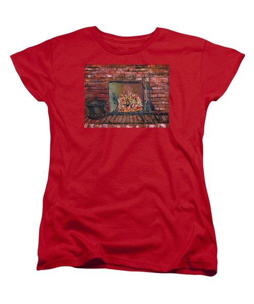 Women's T-Shirt (Standard Cut) featuring the painting Enchanting Fire by Michael Daniels