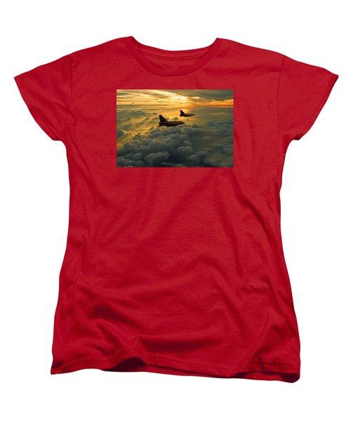 English Electric Lightning Sunset Flight Women's T-Shirt (Standard Cut) by Ken Brannen