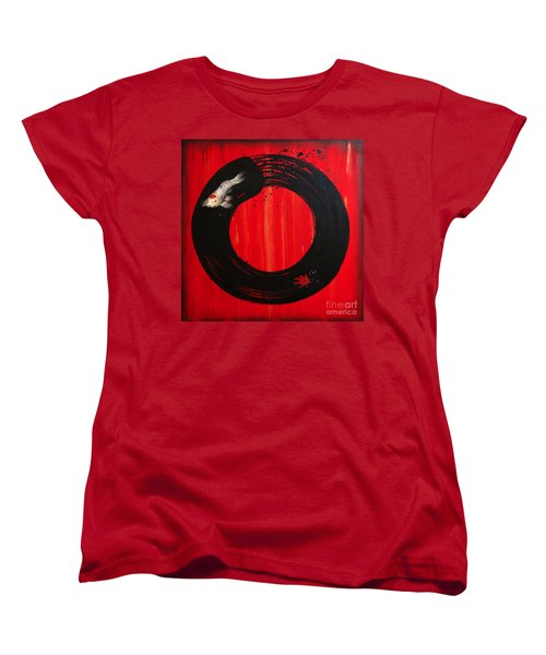 Enso With Koi Red And Gold Women's T-Shirt (Standard Cut) by Sandi Baker