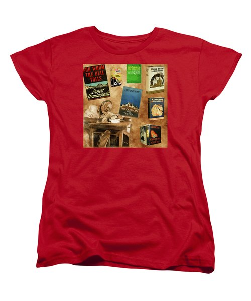Ernest Hemingway Books 2 Women's T-Shirt (Standard Cut) by Andrew Fare