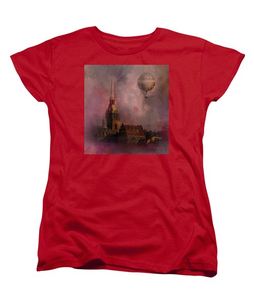 Women's T-Shirt (Standard Cut) featuring the digital art Stockholm Church With Flying Balloon by Jeff Burgess