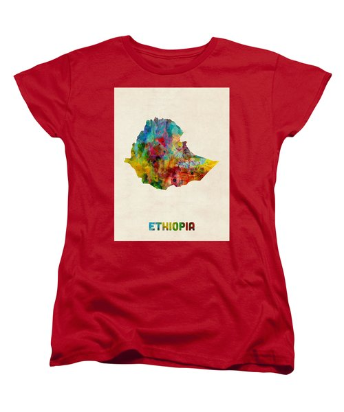 Women's T-Shirt (Standard Cut) featuring the digital art Ethiopia Watercolor Map by Michael Tompsett
