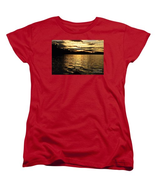 Women's T-Shirt (Standard Cut) featuring the photograph Evening Paddle On Amoeber Lake by Larry Ricker