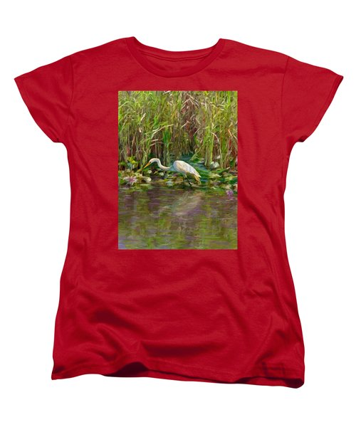 Women's T-Shirt (Standard Cut) featuring the painting Everglades Hunter by David  Van Hulst